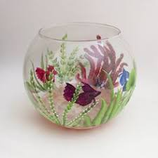 Decorative Fish Bowls Handpainted Beta Fish Bowl Decorative Fish Tank Aquatic Painted 41