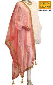 Designer Net Dupatta Online Pink Net Dupatta With Tassels Online Shopping For Ethnic