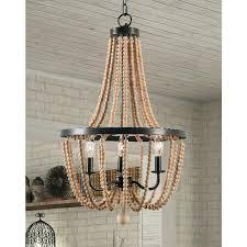 wood bead chandelier 3 light wooden