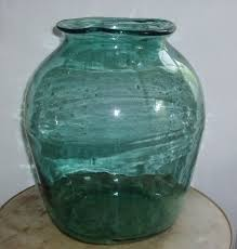large 19th century american blown glass vase made from a demijohn wonderful inclusions and air bubbles with a folk art quality 15 5 tall