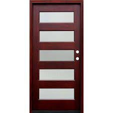 modern front door. Contemporary 5 Lite Reed Stained Mahogany Wood Prehung Front Modern Door