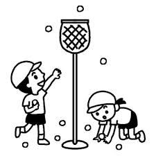 玉入れ2運動会体育祭大きな行事学校無料白黒イラスト素材