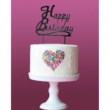 Acrylic Black Simple Happy Birthday Cake Topper