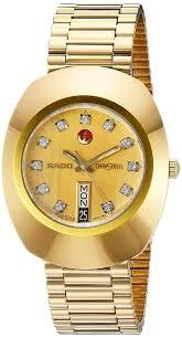 rado men s gold plated bracelet case anti reflective sapphire rado men s gold plated bracelet case anti reflective sapphire automatic gold tone dial watch r12413493 amazon co uk watches