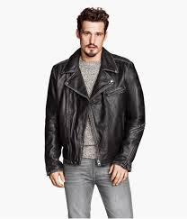 lyst h m leather biker jacket in black for men