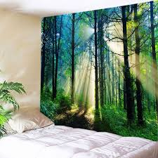 forest sunlight decorative wall art tapestry green