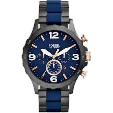 fossil men s nate blue silicone black pvd chronograph watch men 039 s nate blue silicone amp black pvd chronograph watch
