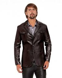 slim fit leather blazer with flap patch pockets front