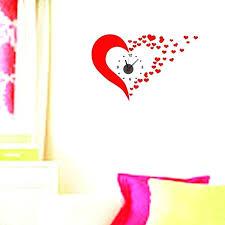 clocks wall art cute red heart wall clock sticker art wall decals save i i square wall