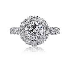 Diamond Designs Christopher Design Crisscut Collection Round Diamond Halo Engagement Ring