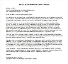 Letter Of Recommendation Student 27 Letters Of Recommendation For Scholarship Pdf Doc Free