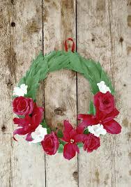 Christmas Paper Flower Wreath Crepe Paper Floral Christmas Wreath Favecrafts Com