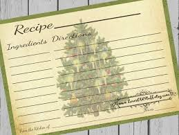 Printable Christmas Recipe Cards Printable Christmas Recipe Cards 4x6 Blank Recipe Cards 3x5