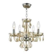 clarion collection 4 light polished chrome golden teak crystal chandelier