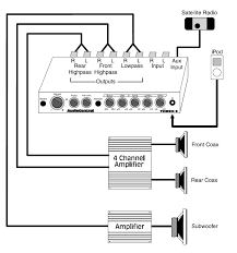 car application diagrams audiocontrol no fixed source · dual amps · epicenter · 4 channel plus sub