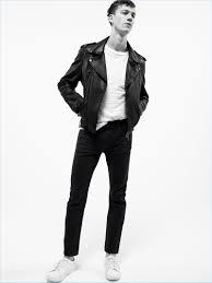 playing it cool harvey james sports black denim jeans with a white tee and leather