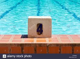 swimming pool lane number 4 stock image