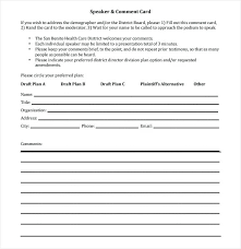Comment Cards Daily Attendance Template Word Comment Card Microsoft