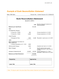 Bank Statement Reconciliation Form Bank Reconciliation Form Samples Banking Forms Free Templates Pdf
