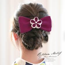髪飾り 赤紫色 パープル 白 梅 花 リボン つまみ細工 フェイクパール