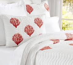 Coral Embroidered Quilt & Sham | Pottery Barn & Coral Embroidered Quilt & Sham Adamdwight.com