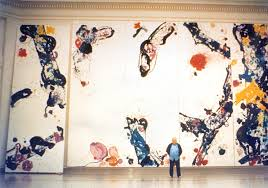 above is sam francis with his painting which when installed in 1987 measured 27 feet by 40 feet the piece was stretched onto john annesley expansion bolt