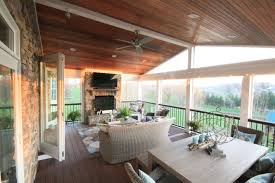 screen porch fireplace gany ceiling