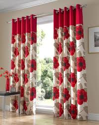 Fair Design Ideas using Rectangular Black Wooden Tables and Red Floral  Loose Curtains also with Brown