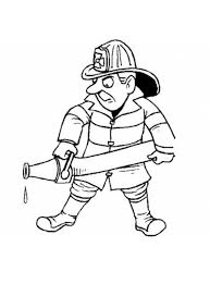 Kleurplaat Brandweerman Met Brandweerslang Kleurplaatjecom