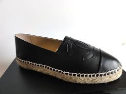 chanel espadrilles black lambskin leather cc logo flat shoes new 40 10 new