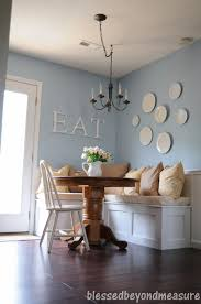 Kitchen: Cozy Loral Upholstered Banquette Theme With Long Dining ...