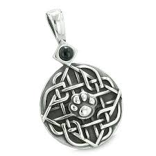 amulet celtic shield knot baby wolf or cat paw simulated black onyx protection power pendant 18