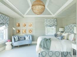 blue and gray bedroom with grasscloth wallpaper