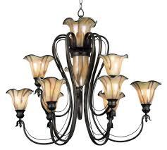 inverness 9 bulb chandelier w lighted center art glass
