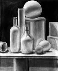 charcoal still life drawings by olga kharitonova via behance