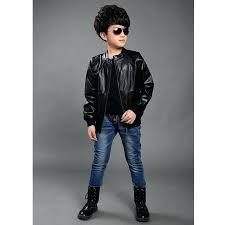 boys leather coat jacket long sleeve turn down collar casual kids spring outwear pure color childrens boys leather coat