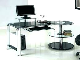 glass computer desk with keyboard tray computer desk with keyboard tray modern glass desk contemporary computer workstation space saving furniture keyboard