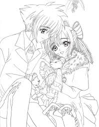 Anime Coloring Pages Boy And Girl Couple Coloringstar