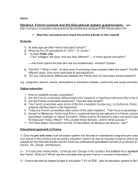french education system questionnaire to fill and hand in download
