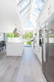 brushed oak floors create an airy feeling in the space