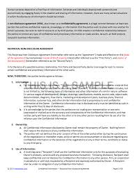 Business Confidentiality Agreement Sample NonDisclosure Agreement NDA Template 20