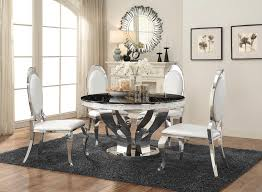 anchorage chrome finish 5pc solid marble top round dining set w pearlized cream leatherette chairs