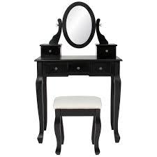 best choice s makeup cosmetic beauty vanity dressing table set w oval mirror stool seat 5 drawers black walmart
