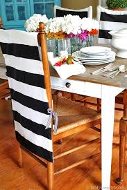 fabric needed for dining room chairs. no sew decorating idea for chairs. transform the look of a dining room chairs easily with fabric these chair back covers. they are quick, easy, needed