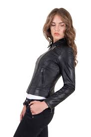 italian leather jacket for women biker model black 2