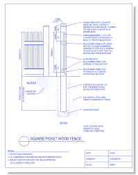 wood fence drawing. CAD Drawings CADdetails.com Square Picket Wood Fence Drawing G