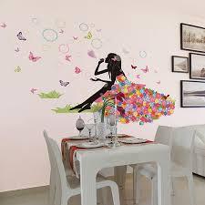 girl blow bubble kids room decor diy wall stickers flowers