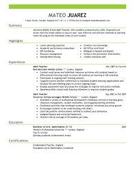 Resume Examples For Teachers With Experience