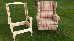 arm chair frame and same arm chair with tartan upholstery