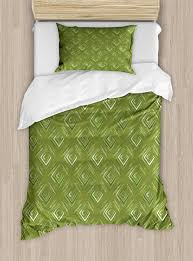 olive green duvet cover set grunge geometric pattern square shape diagonal abstract rhombus decorative bedding set with pillow shams olive green yellow